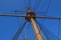Старый рангоут и такелажирование кораблей. Стоковые Фото