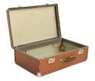 старый раскрытый чемодан Стоковое Изображение
