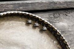 Старый ретро деревянный взгляд крупного плана тамбурин деталей Стоковое фото RF