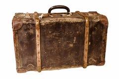 Старый ретро чемодан на белой предпосылке Стоковые Фотографии RF