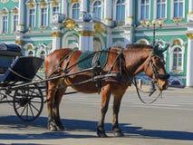 Старый ретро экипаж перед музеем обители Зимнего дворца на квадрате дворца в Санкт-Петербурге, России Историческая старая стоковое фото