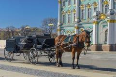Старый ретро экипаж перед музеем обители Зимнего дворца на квадрате дворца в Санкт-Петербурге, России Историческая старая стоковая фотография rf