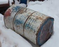 Старый ржавый бочонок металла Стоковые Фото