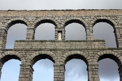 Старый римский мост-водовод в Сеговии, Испании Стоковое Фото
