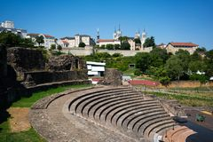 Старый римский театр Fourviere в Лионе Франции стоковое фото rf