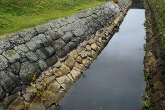 Старый ров положенный вне в камень стоковое фото rf