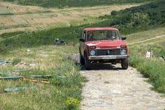 Старый русский автомобиль Lada 4x4 Niva в Грузии стоковое фото rf