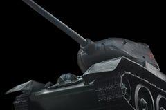старый русский танк на черной предпосылке Стоковая Фотография