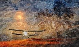 Старый самолет предпосылка бурного неба Крася влажная акварель на бумаге Наивное искусство Абстрактное искусство Рисуя акварель н иллюстрация штока