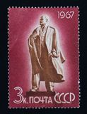 Старый советский штемпель почтового сбора, Владимир Ленин Стоковое Изображение RF