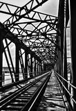 Старый стальной мост с путем поезда Стоковое Изображение