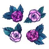 Старый стиль vectored розы на белой предпосылке|coll роз /Vintage Стоковые Изображения