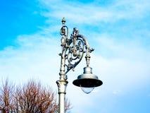 Старый столб лампы утюга стоковые фотографии rf