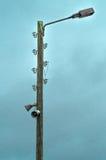 Старый столб электрической лампы с дикторами Стоковые Фото