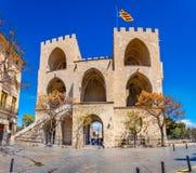 Старый строб города, Torres de Serranos в Валенсии, Испания Стоковые Изображения RF