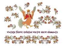 Старый славянский винтажный изолят комплекта элементов оформления на белизне Стоковые Изображения RF