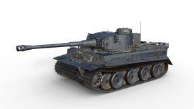 Старый танк армии, винтажное armored военное транспортное средство с оружием и башенка на белой предпосылке, 3D представляют стоковые фотографии rf