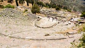 Старый театр в Delfi, Греции Стоковая Фотография RF