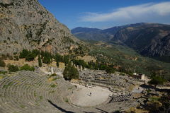Старый театр, Дэлфи, Греция Стоковые Изображения