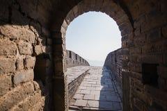 Старый темный каменный тоннель внутри Великой Китайской Стены Стоковая Фотография RF