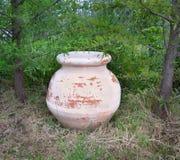 Старый терракотовый опарник в саде Стоковые Изображения RF