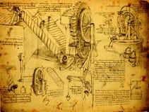 Старый технический чертеж Стоковое Изображение
