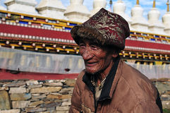 Старый тибетский человек Стоковая Фотография