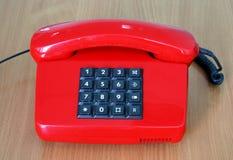 старый тип красного цвета телефона Стоковая Фотография