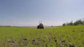Старый трактор работая в земледелии сток-видео