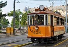 Старый трамвай в городе Будапешта Стоковые Фото