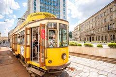 Старый трамвай в милане Стоковое Изображение