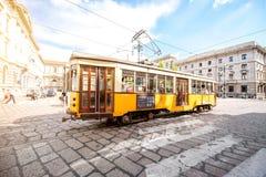 Старый трамвай в милане Стоковые Фото