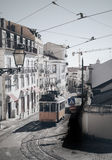Старый трамвай Лиссабона электрический Стоковые Изображения