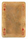 Старый ферзь играя карточки grunge предпосылки диамантов Стоковое фото RF