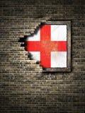 Старый флаг Англии в кирпичной стене Стоковые Фото