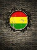 Старый флаг Боливии в кирпичной стене иллюстрация штока