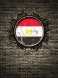 Старый флаг Египта в кирпичной стене иллюстрация вектора