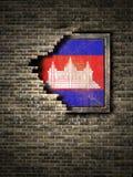 Старый флаг Камбоджи в кирпичной стене Стоковая Фотография