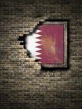 Старый флаг Катара в кирпичной стене иллюстрация вектора