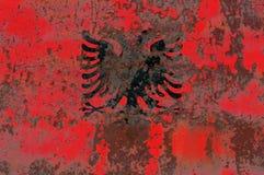 Старый флаг предпосылки grunge Албании Стоковое фото RF