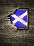 Старый флаг Шотландии в кирпичной стене Стоковое фото RF
