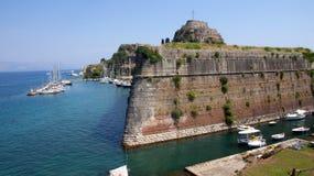 Старый форт в городке Корфу, Греции Стоковое Изображение