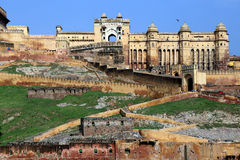 Старый форт Amer (янтарный форт), положение Джайпура, Раджастхана, Индия Стоковые Изображения RF