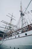 Старый фрегат в гавани Стоковая Фотография RF