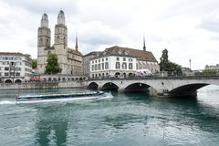 Старый центр города Цюриха на Швейцарии Стоковые Фотографии RF
