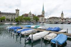 Старый центр города Цюриха на Швейцарии Стоковое Изображение