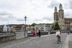 Старый центр города Цюриха на Швейцарии Стоковое Фото