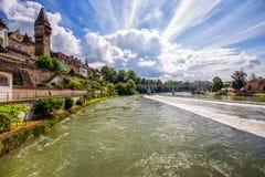 Старый центр города города Bremgarten в Швейцарии Стоковое Изображение RF