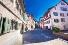 Старый центр города деревни Stein am Rhein с красочное старое hous Стоковое Изображение