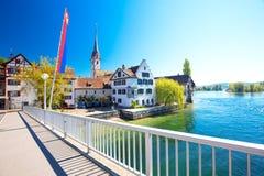 Старый центр города деревни Stein am Rhein Стоковые Фотографии RF